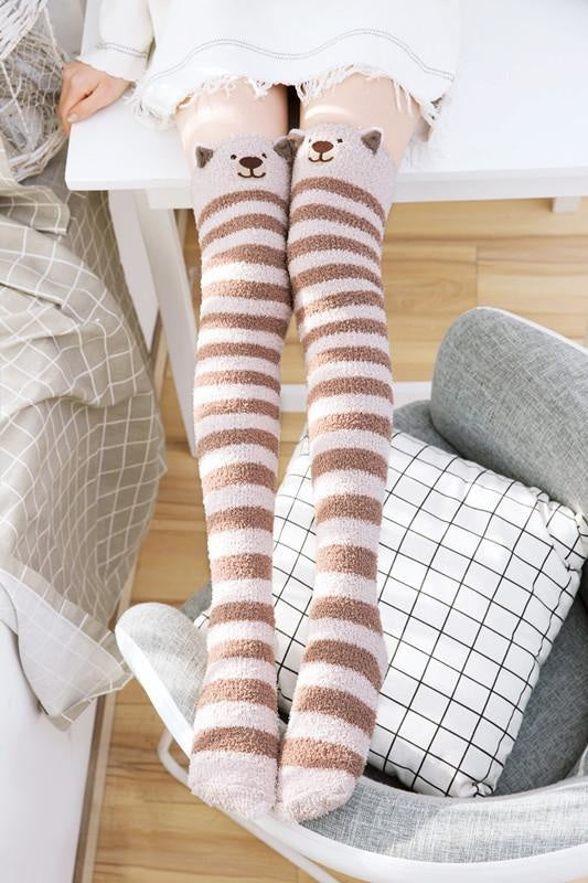 kawaii brown baby bear thigh high socks stockings knee socks tights furry fuzzy warm animal print striped winter wear by ddlg playground