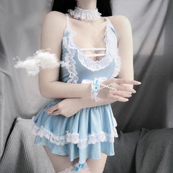 Baby Blue Maid Dress - babydoll, blue, blue maid, cosplay, cosplayer