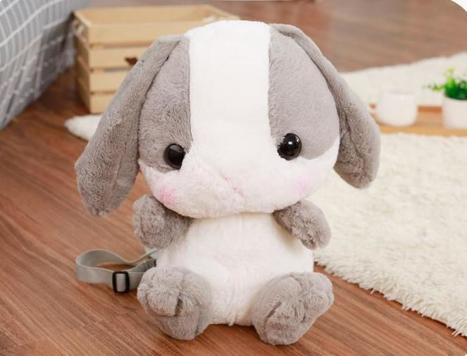 Kawaii Grey Baby Bunny Rabbit backpack Book Bag Cute Fluffy Bun Adorable