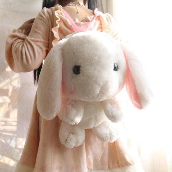 Kawaii White Baby Bunny Rabbit backpack Book Bag Cute Fluffy Bun Adorable