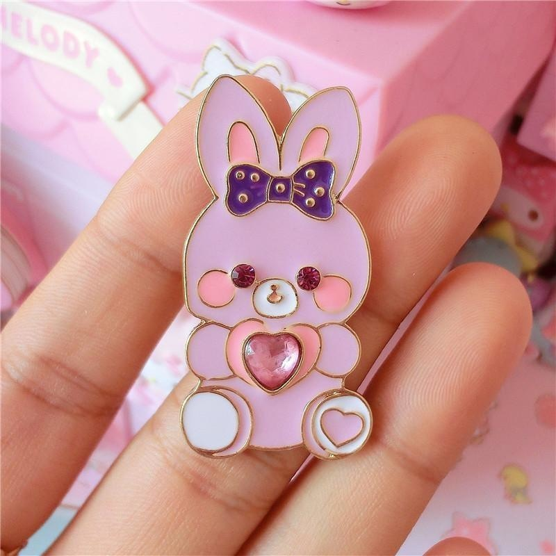 Baby Bun Jewelled Enamel Pin - Bunny - brooch, brooches, bunnies, bunny, enamel pins