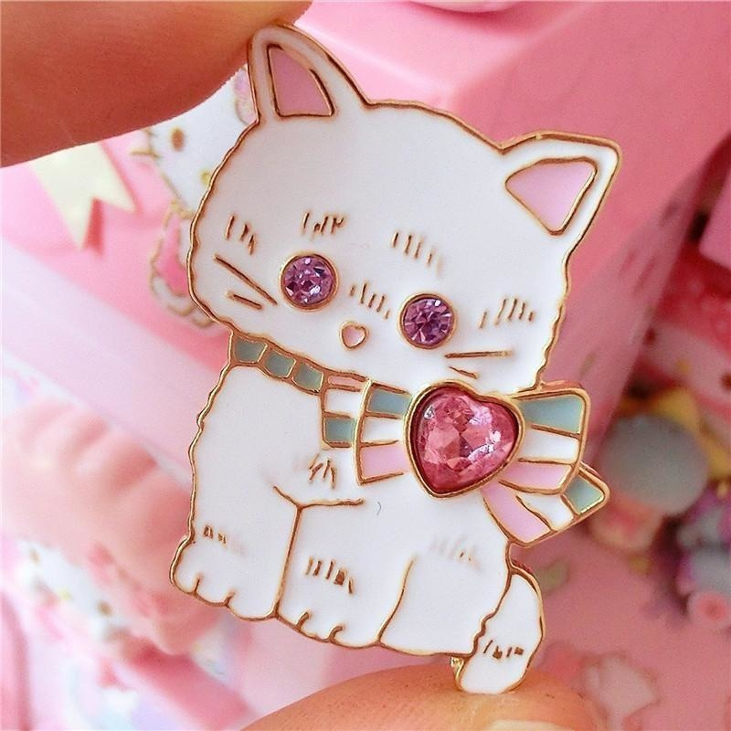 Baby Bun Jewelled Enamel Pin - White Kitten - brooch, brooches, bunnies, bunny, enamel pins