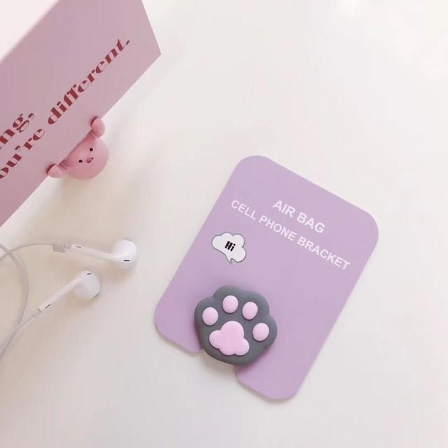 Baby Phone Finger Rings - Grey Paw - phone ring