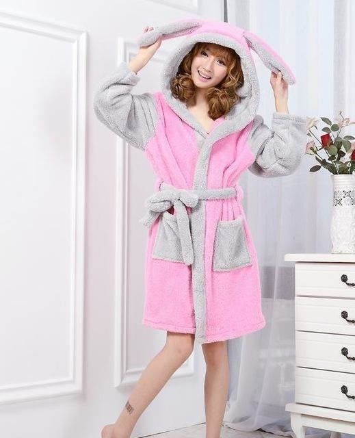 Baby Stitch Bath Robe - Pink Grey Bunny / S - Shoes
