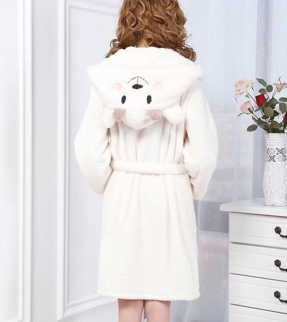 Baby Stitch Bath Robe - White Bear / S - Shoes