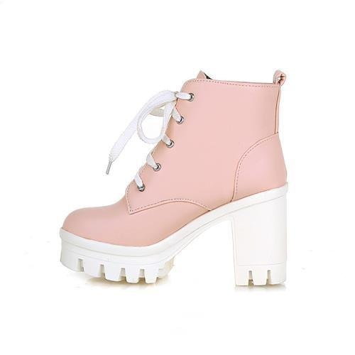 Pink Babydoll Square Heel Ankle Boots Block Heeled Booties Vegan Leather Little Space CGL Fetish by DDLG Playground