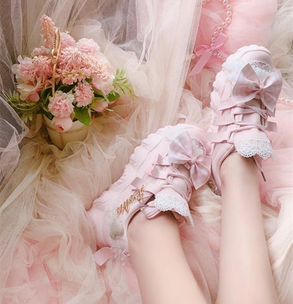 Babydoll Lolita Sneakers - aesthetic, bows, cosplay, footwear, girly