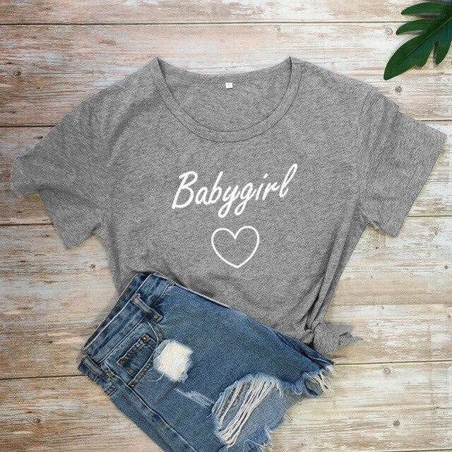 Babygirl T-shirt - dark gray-white text / XXXL - baby girl, girls, babygirl, babygirls, kinky