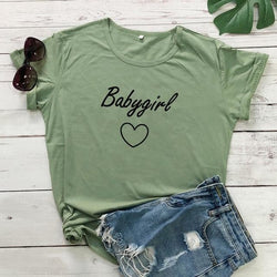 Babygirl T-shirt - olive-black text / S - baby girl, girls, babygirl, babygirls, kinky