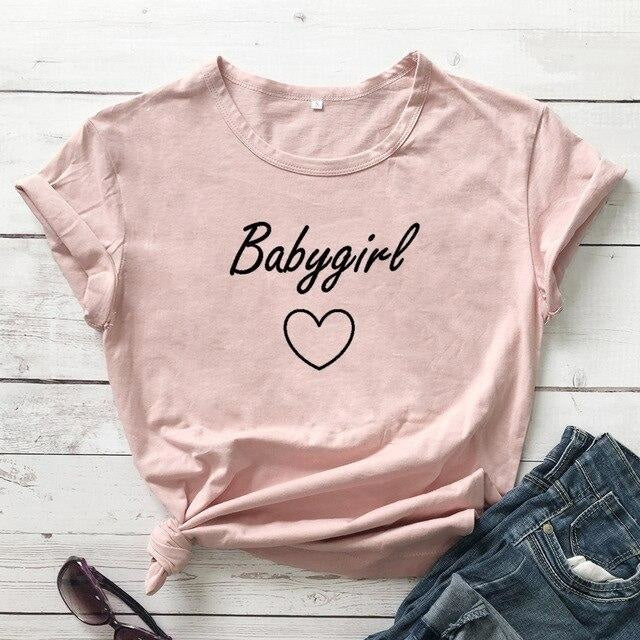Babygirl T-shirt - peach-black text / XXXL - baby girl, girls, babygirl, babygirls, kinky