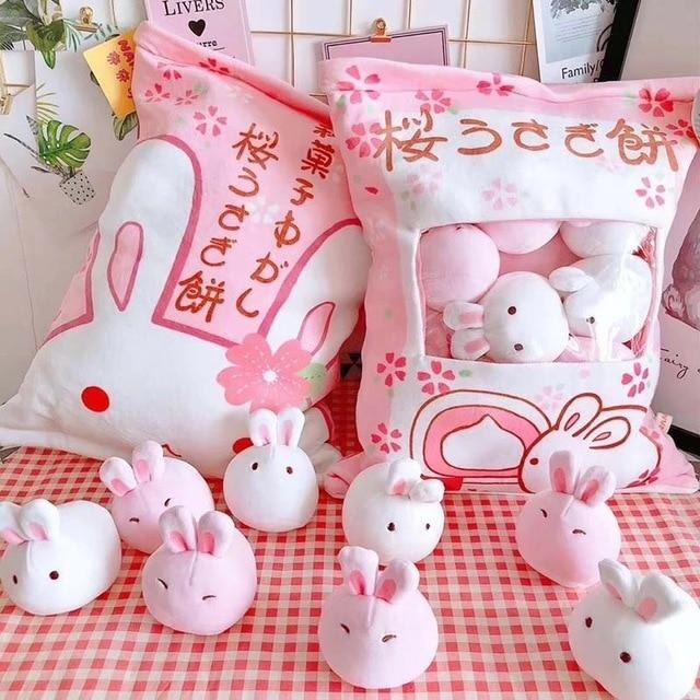 Bag Of Pink Bunnies - 8 Piece Bunny Bag - stuffed animal