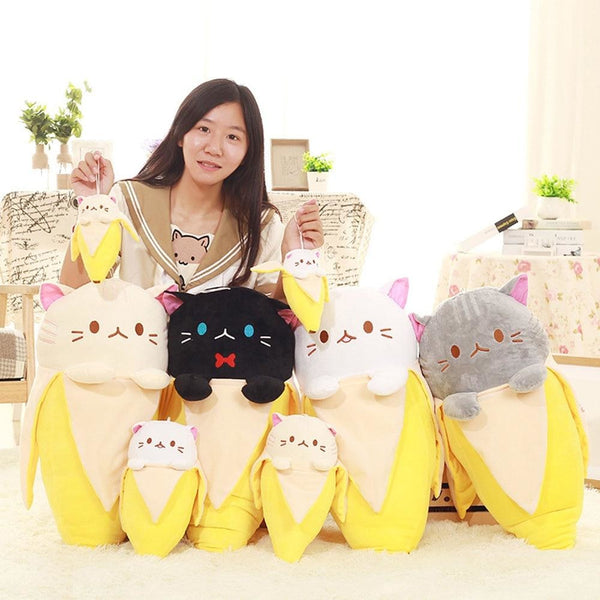 Kawaii Banana Cat Plush Toy Large Jumbo Size Japan Bananya Cute Stuffed Animal