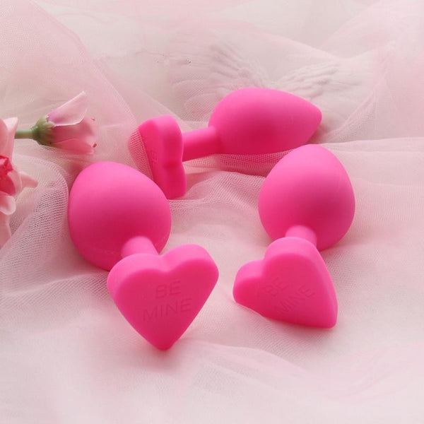 Pink Silicone Heart Butt Plugs Be Mine Valentine Day Kink Fetish Anal Plugs by DDLG Playground