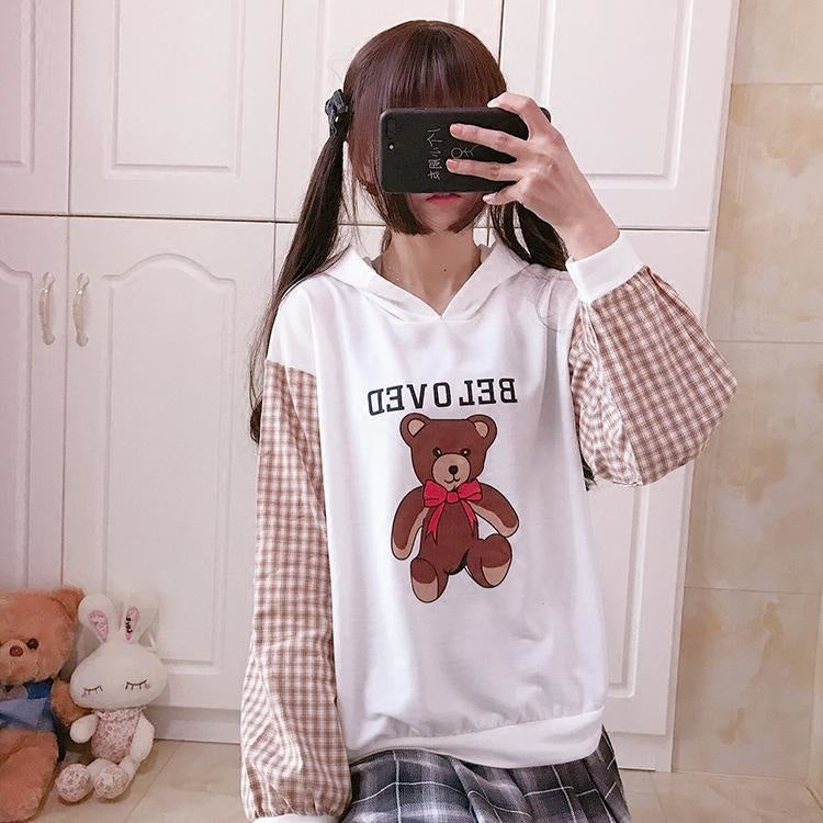 Beloved Bear Hoodie - White / One Size - sweater