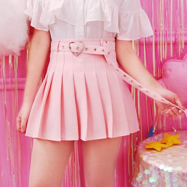 Kawaii Pink Belted Heart Buckle Skirt Pleated Tennis Skirt Cute Fashion