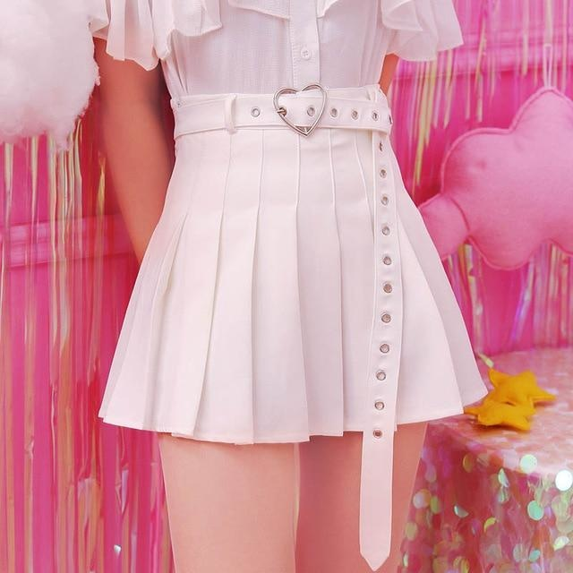 Kawaii White Belted Heart Buckle Skirt Pleated Tennis Skirt Cute Fashion