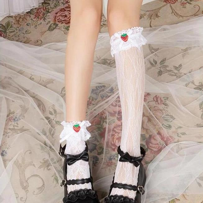 Berry Babydoll Stockings - babydoll, cute socks, egl, knee high highs