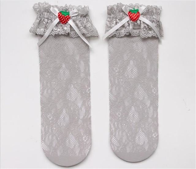 Berry Babydoll Stockings - Grey - babydoll, cute socks, egl, knee high highs