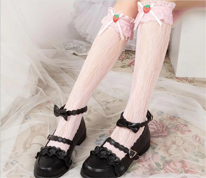 Berry Babydoll Stockings - Pink - babydoll, cute socks, egl, knee high highs