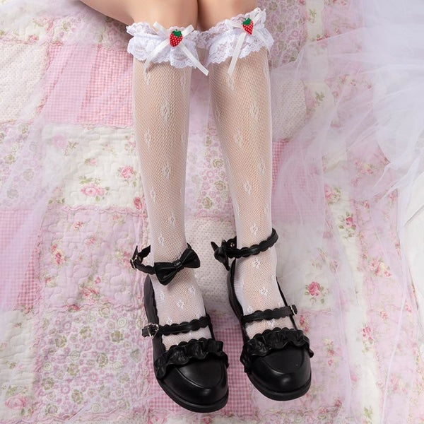 Berry Babydoll Stockings - White - babydoll, cute socks, egl, knee high highs