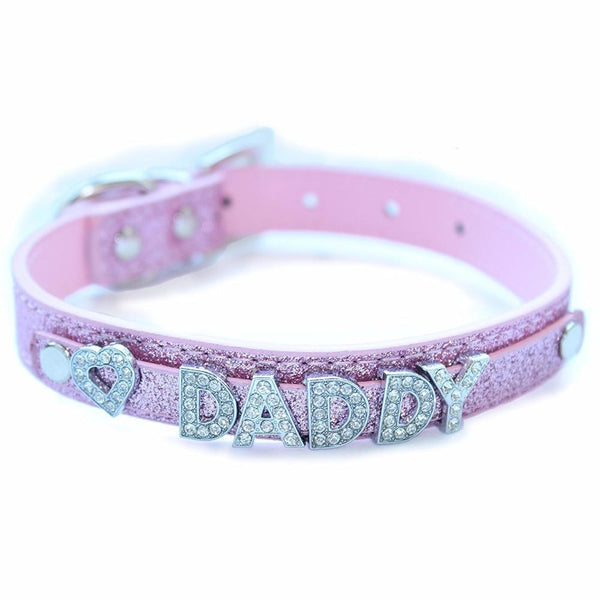 Pink Daddy Dom Rhinestone Collar Choker Necklace Bondage BDSM ABDL by DDLG Playground