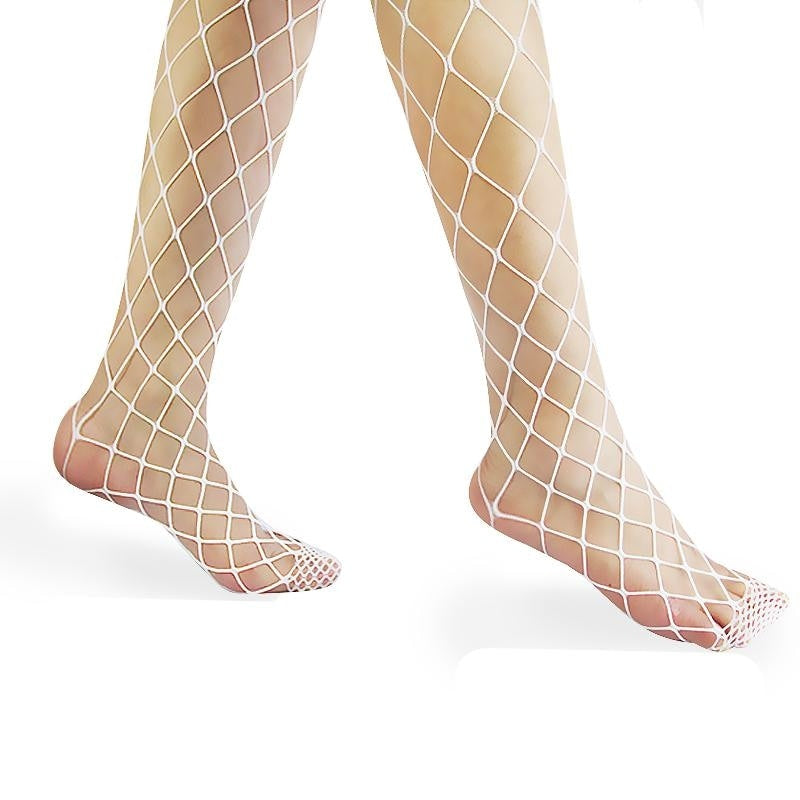 White Fishnet Stockings Kink Fetish BDSM Sexy Fashion Tights See Through Mesh by DDLG Playground