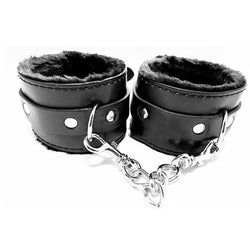 Black BDSM Fur Lined Handcuffs Cuffs Slave And Master Bondage Discipline Submissive  Master  Sex Toy Fetish Kink Bedroom
