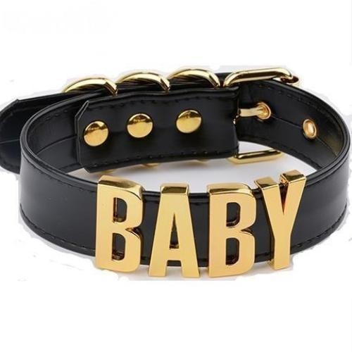 bdsm black choker necklace  baby collar gold hardware dd/lg little space girl ddlg cgl kawaii aesthetic