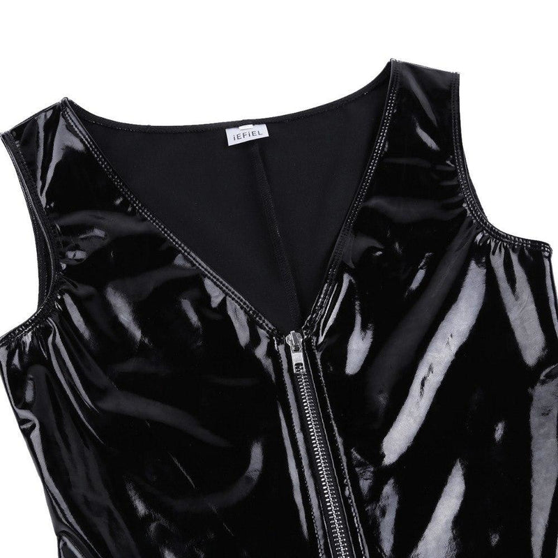 Black Latex Bodysuit Romper One Piece BDSM Kink Fetish S&M Dominatrix by DDLG Playground