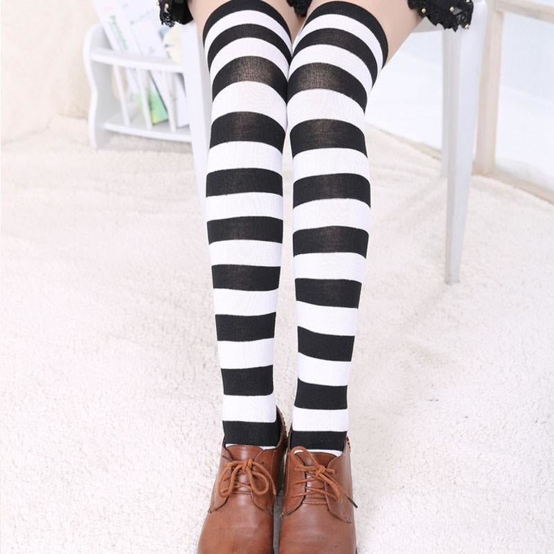 pastel thigh high black white socks stockings striped stripes long knee socks tights panty hose sexy tall legs ddlg playground anime kawaii