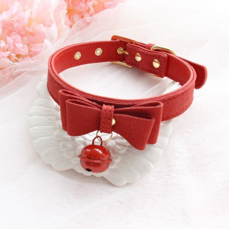 Bow & Bell Kitten Collar - Red - baby girl, babygirl, bell collar, collars, bow collar