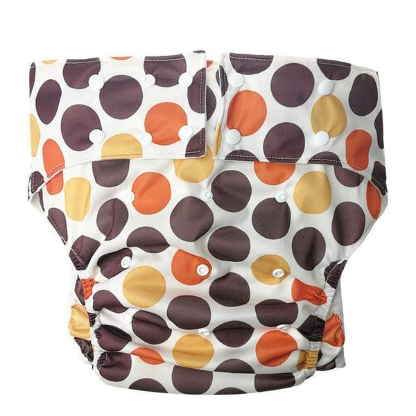 adult baby diaper cloth brown mod polkadot circle print reusable nappies diapers abdl adult sized baby diaper lover nappy snaps unisex mdlb ddlb ddlg mdlg cgl littlespace kink fetish waterproof bamboo liner by ddlg playground