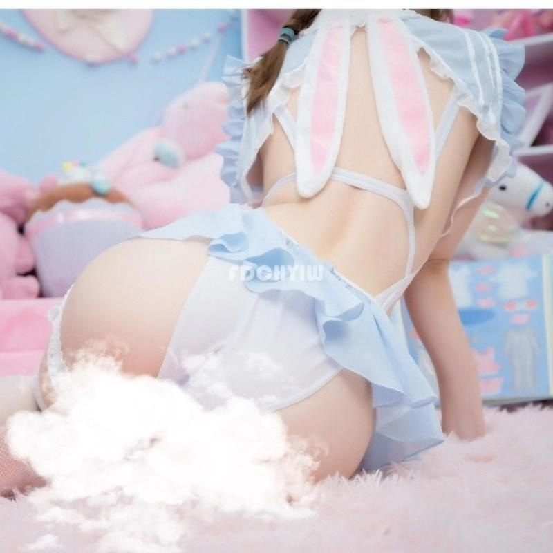 Bunny Scout Lingerie Set - blue lace, bow, bunny, bunny rabbit, crop tops