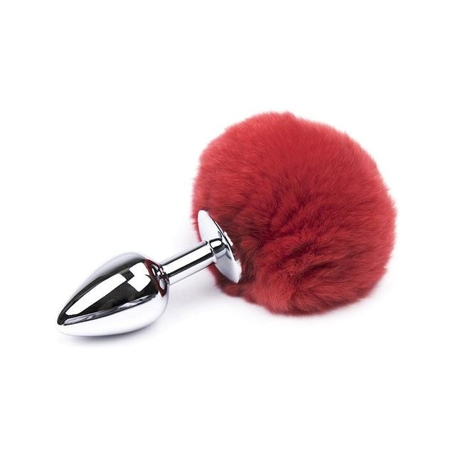 Bunny Rabbit Red Tail Plug Pet Play Pom Pom Kink Fetish Butt Plugs by DDLG Playground