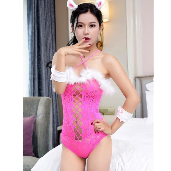 Sexy Pink Bunny Rabbit Bodysuit Adult Onesie Pet Play Jumper Corset Lace Up Costume Halloween