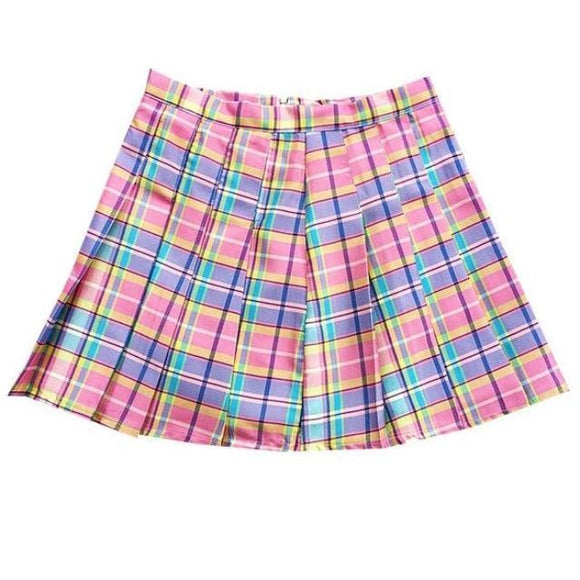 Candy Plaid Skirt - Pink / One Size (Small) - skirt