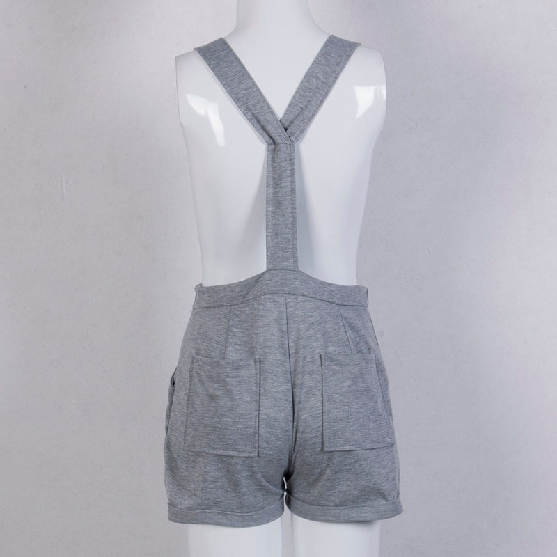 Casual Soft Grey Romper - cargo overalls, jumpsuit, jumpsuits, one piece, overall