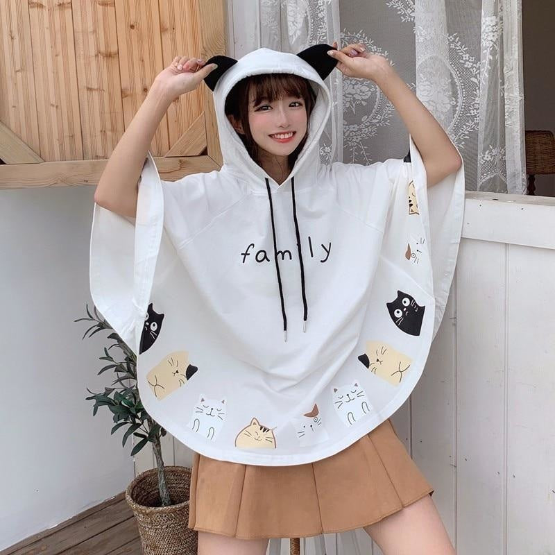 Cat Family Poncho - White - sweater