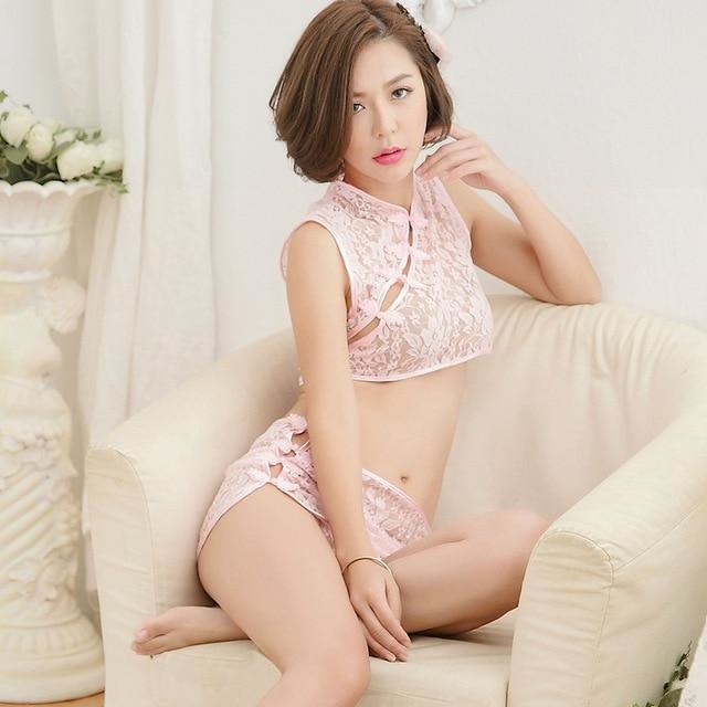 Cheongsam Oriental China Lingerie Set Sexy Fetish See Through White Lace Japan Cosplay Sexy Kimono