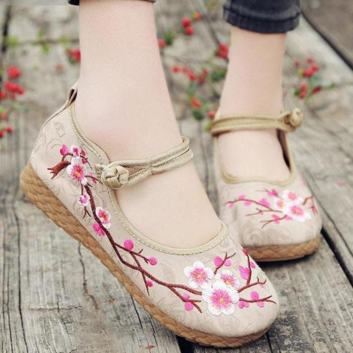Cherry Blossom Tree Branch Ballet Flat Shoes Burlap Canvas Kawaii Cute Footwear