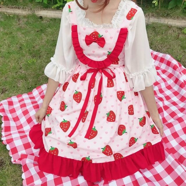 Cherry Sweetheart Dress - Strawberry Print - dress