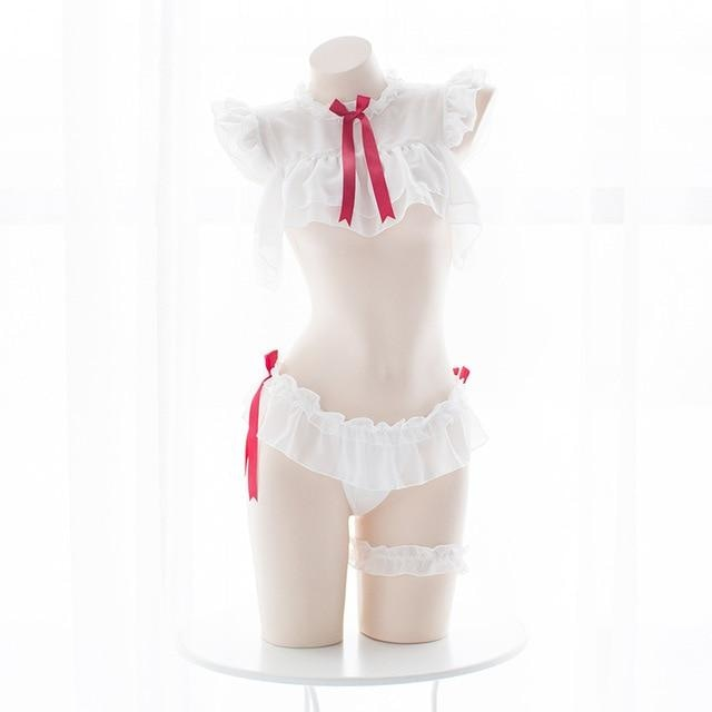 White Red Student Chiffon Lingerie Set Cosplay Sexy Anime Otaku Kawaii
