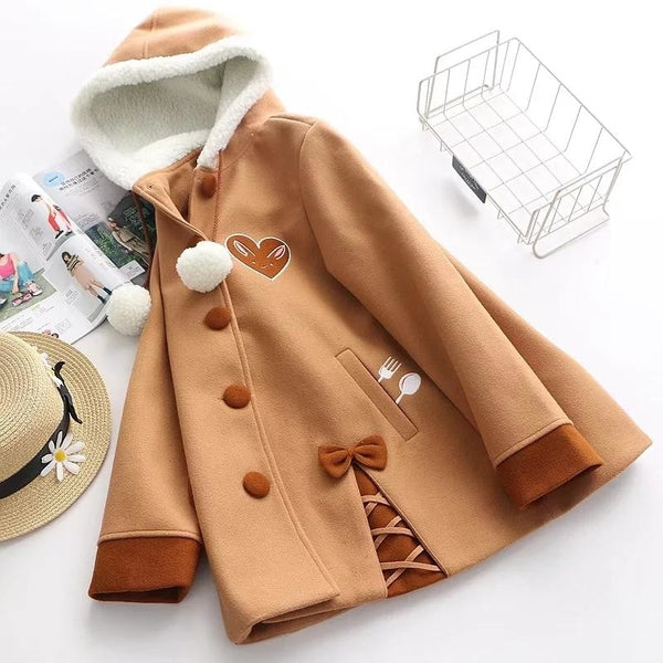 Chocolate Bun Wool Jacket - jacket