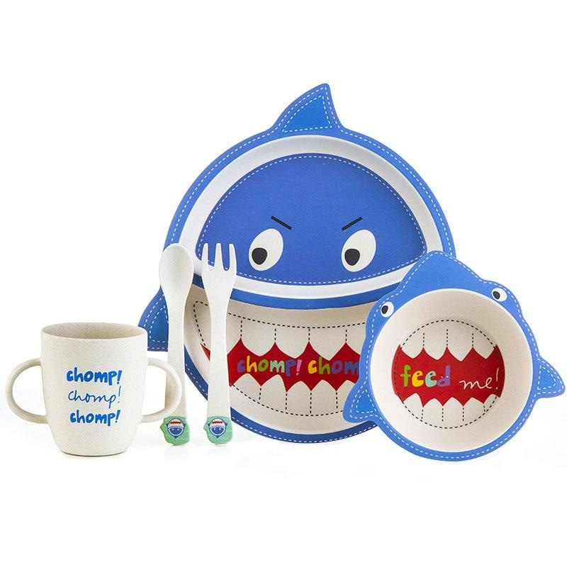 Chomp Dinner Set - blue, bowl, bowls, cartoon, cup