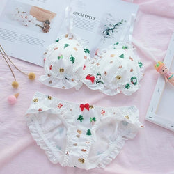 Christmas Tree Holiday Wreathe Lingerie Set Bra White Ruffled Kawaii Cute