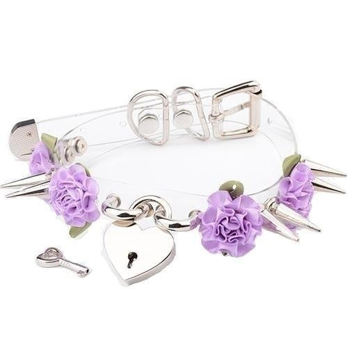 Clear Spiked Floral Choker - Purple Flower Silver - Choker