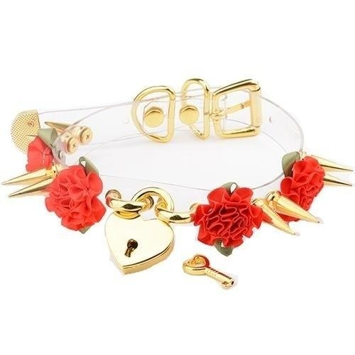 Clear Spiked Floral Choker Collar Necklace Transparent Gold Silver Spiky Heart Lock And Key BDSM Kink Fetish S&M by DDLG Playground