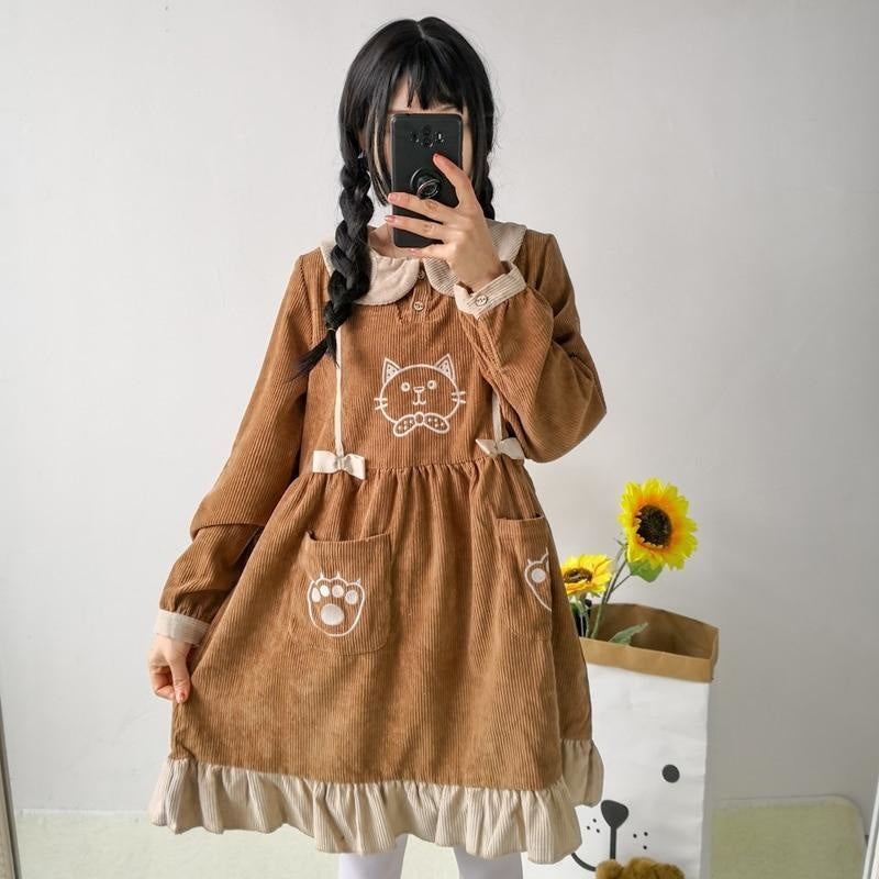 Corduroy Kitten Dress - Brown Dress - jumper