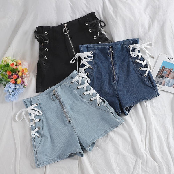 Corset Denim Shorts - underwear
