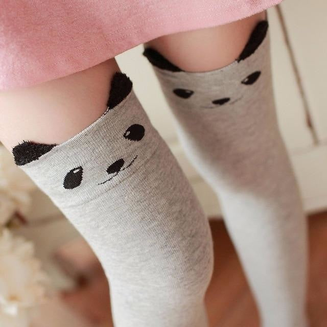 Cotton Animal Thigh Highs - Gray Panda - stockings